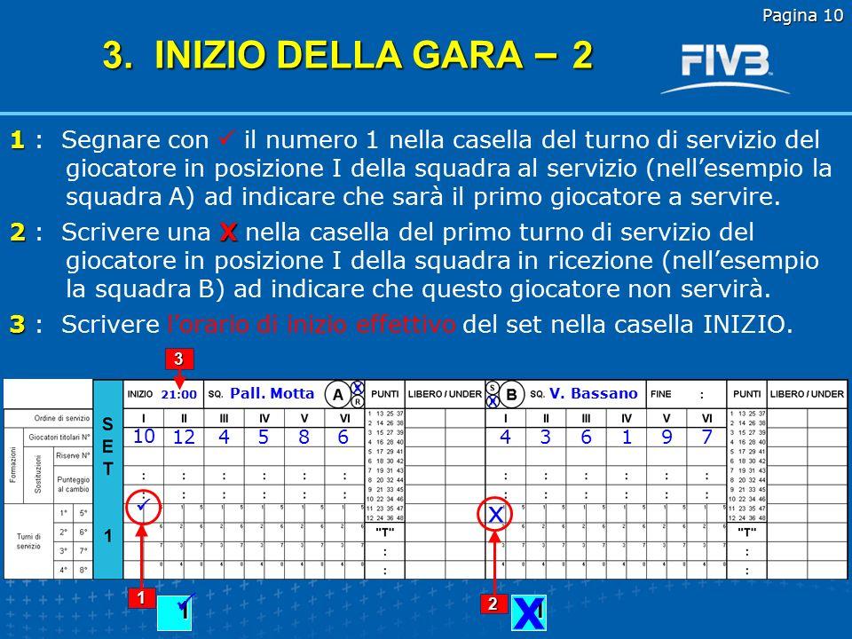Pagina 9 Scrivere i numeri dei giocatori titolari nella corrispondente riga sotto ai numeri romani I-VI seguendo quanto riportato nei tagliandi delle formazioni iniziali.