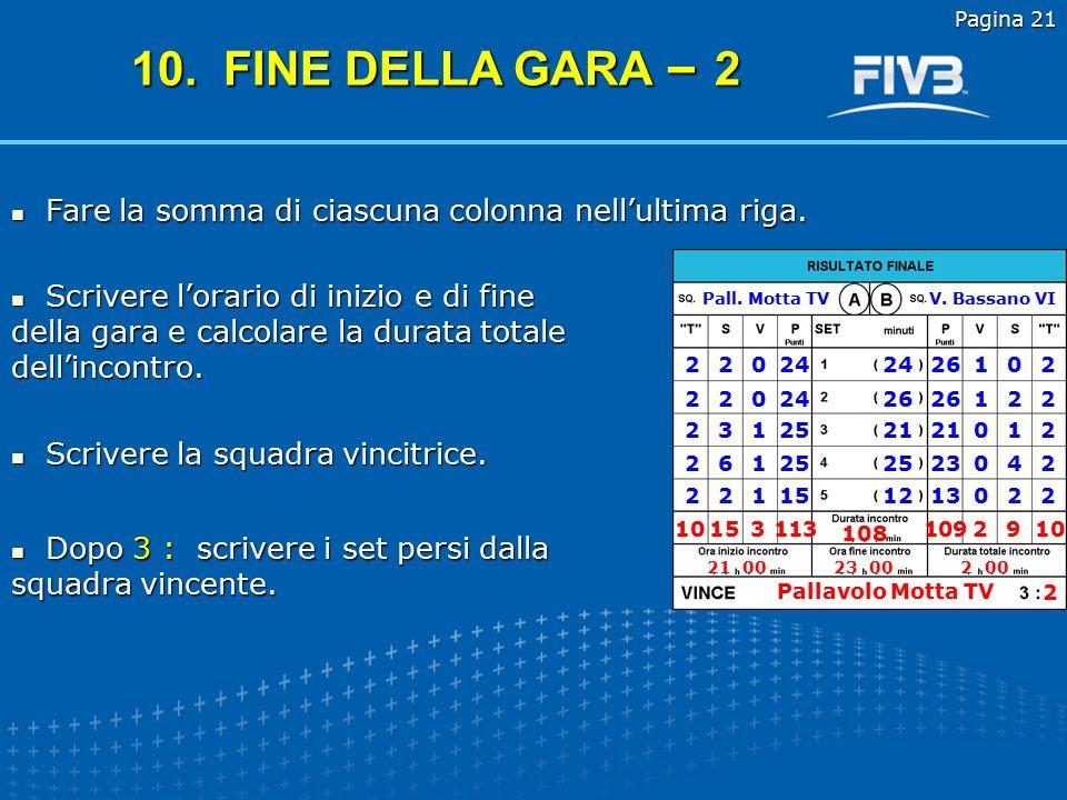 Pagina 20 T : i tempi di riposo richiesti; S : le sostituzioni effettuate; V : l'esito del set (1 per la squadra che ha vinto, 0 per quella che ha perso); P : i punti conquistati; minuti : la durata del set in minuti.