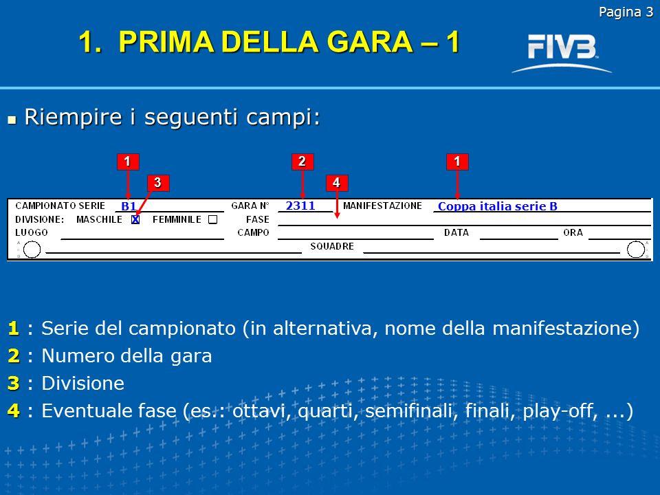 Pagina 2 2.Dopo il sorteggio 3. Inizio della gara 4.