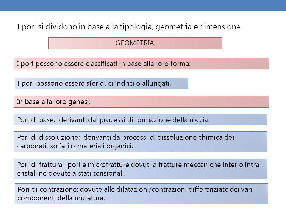 I pori si dividono in base alla tipologia, geometria e dimensione. I pori possono essere classificati in base alla loro forma: I pori possono essere s