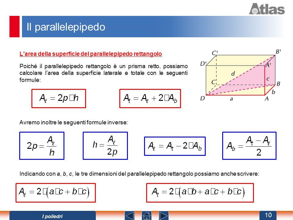 Il parallelepipedo L'area della superficie del parallelepipedo rettangolo Poiché il parallelepipedo rettangolo è un prisma retto, possiamo calcolare l'area della superficie laterale e totale con le seguenti formule: Avremo inoltre le seguenti formule inverse: Indicando con a, b, c, le tre dimensioni del parallelepipedo rettangolo possiamo anche scrivere: 10 I poliedri