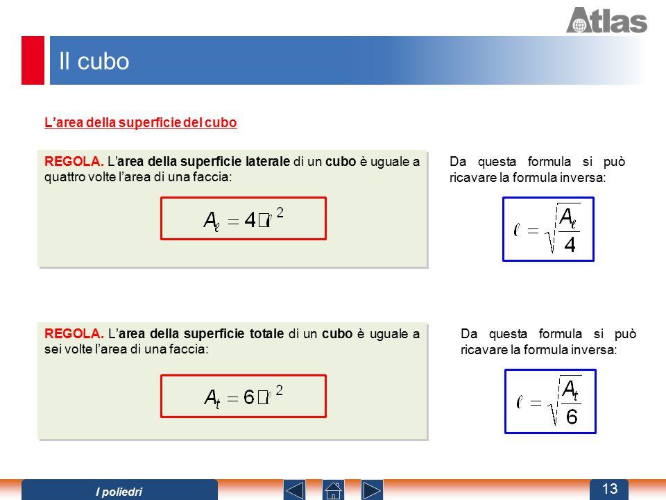 Il cubo L'area della superficie del cubo REGOLA. L'area della superficie laterale di un cubo è uguale a quattro volte l'area di una faccia: Da questa
