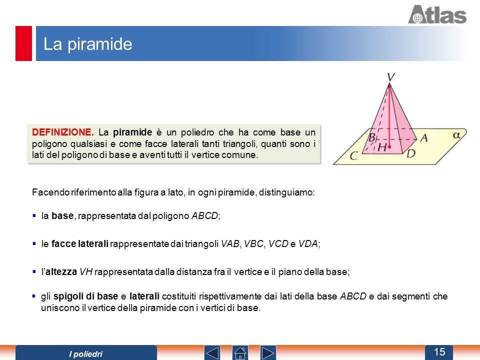 La piramide DEFINIZIONE. La piramide è un poliedro che ha come base un poligono qualsiasi e come facce laterali tanti triangoli, quanti sono i lati de