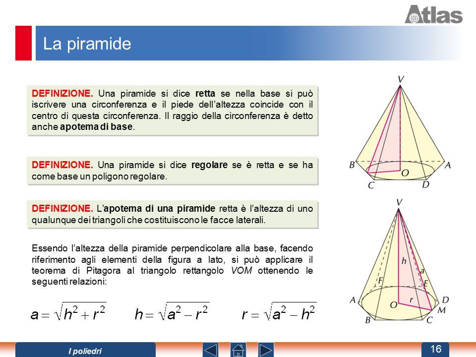 La piramide DEFINIZIONE. Una piramide si dice retta se nella base si può iscrivere una circonferenza e il piede dell'altezza coincide con il centro di