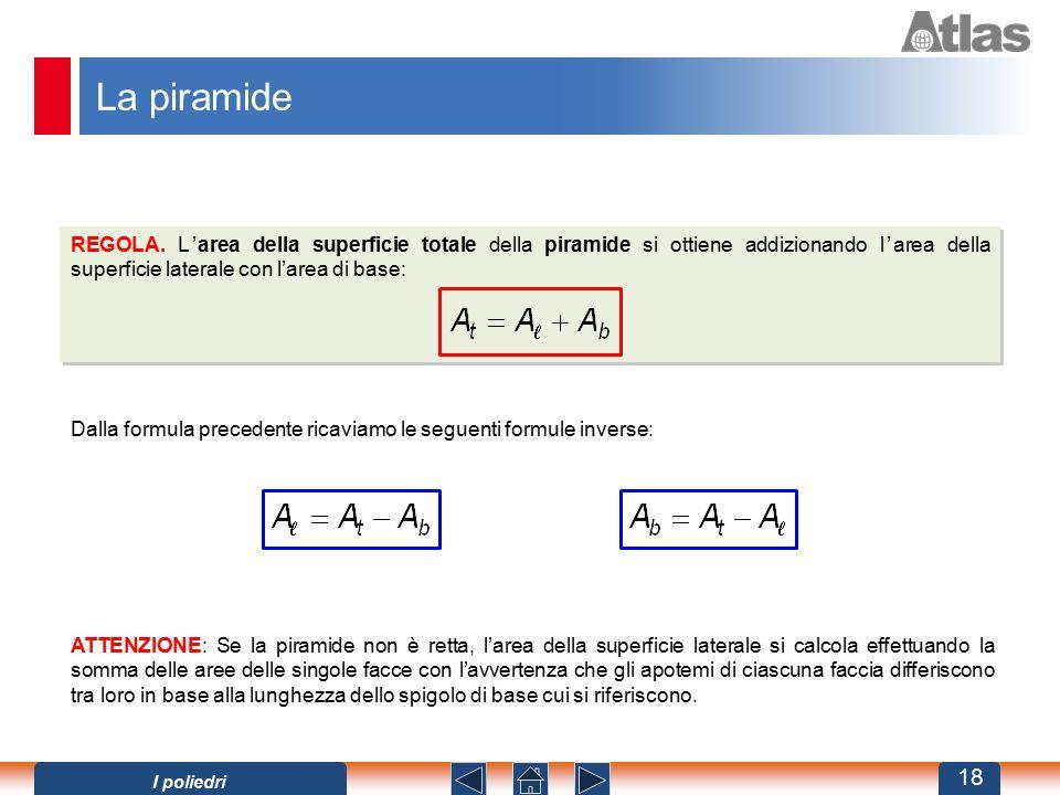 La piramide REGOLA. L'area della superficie totale della piramide si ottiene addizionando l'area della superficie laterale con l'area di base: Dalla f