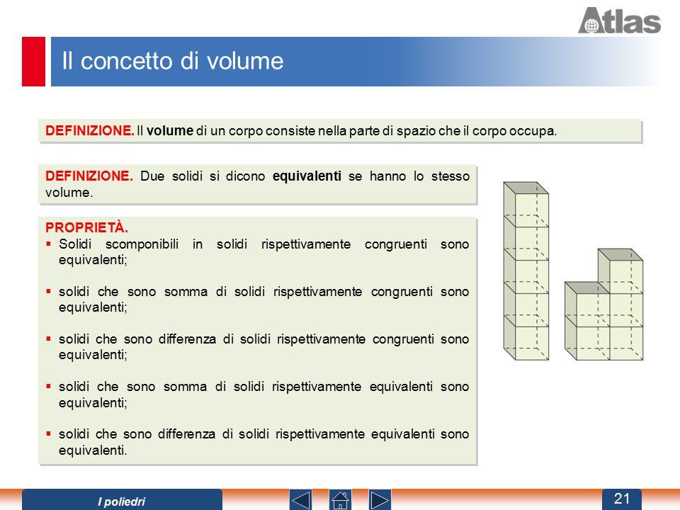 Il concetto di volume DEFINIZIONE. Il volume di un corpo consiste nella parte di spazio che il corpo occupa. DEFINIZIONE. Due solidi si dicono equival