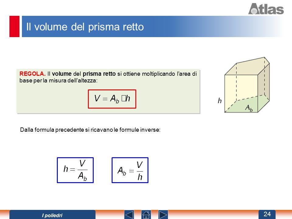 Il volume del prisma retto Dalla formula precedente si ricavano le formule inverse: REGOLA. Il volume del prisma retto si ottiene moltiplicando l'area