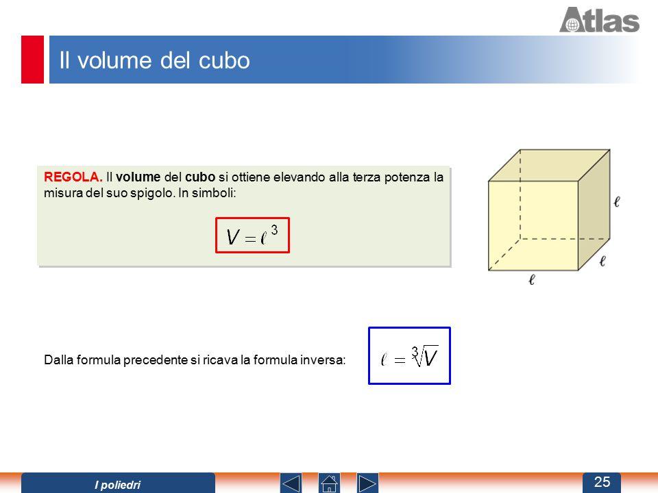 Il volume del cubo Dalla formula precedente si ricava la formula inversa: REGOLA. Il volume del cubo si ottiene elevando alla terza potenza la misura