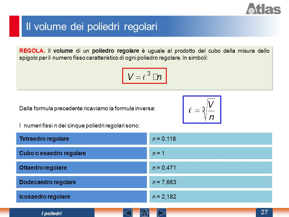 Il volume dei poliedri regolari REGOLA. Il volume di un poliedro regolare è uguale al prodotto del cubo della misura dello spigolo per il numero fisso