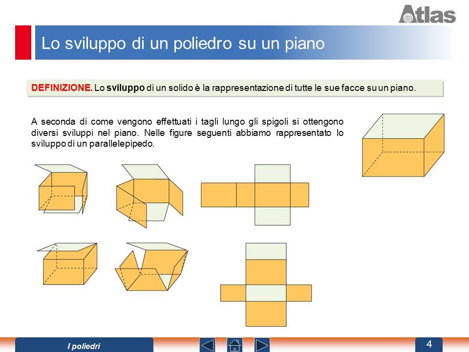Lo sviluppo di un poliedro su un piano DEFINIZIONE. Lo sviluppo di un solido è la rappresentazione di tutte le sue facce su un piano. A seconda di com
