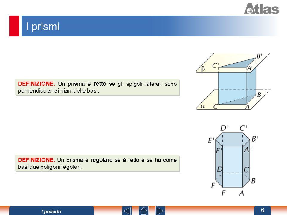I prismi DEFINIZIONE. Un prisma è retto se gli spigoli laterali sono perpendicolari ai piani delle basi. DEFINIZIONE. Un prisma è regolare se è retto