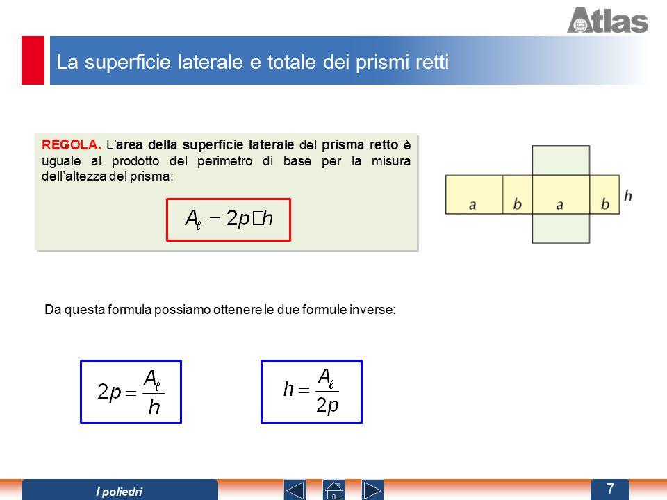 La superficie laterale e totale dei prismi retti REGOLA. L'area della superficie laterale del prisma retto è uguale al prodotto del perimetro di base