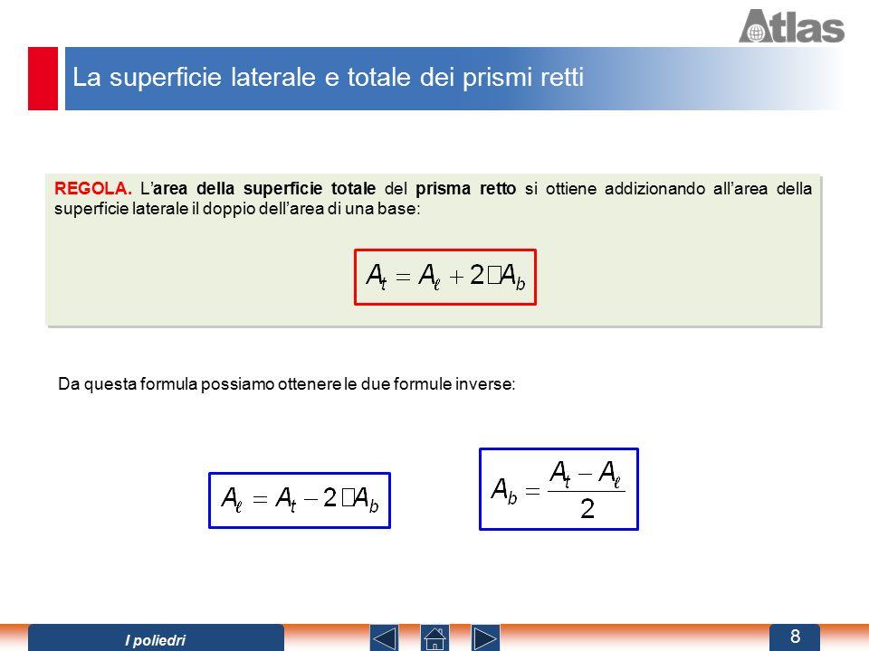 REGOLA. L'area della superficie totale del prisma retto si ottiene addizionando all'area della superficie laterale il doppio dell'area di una base: Da