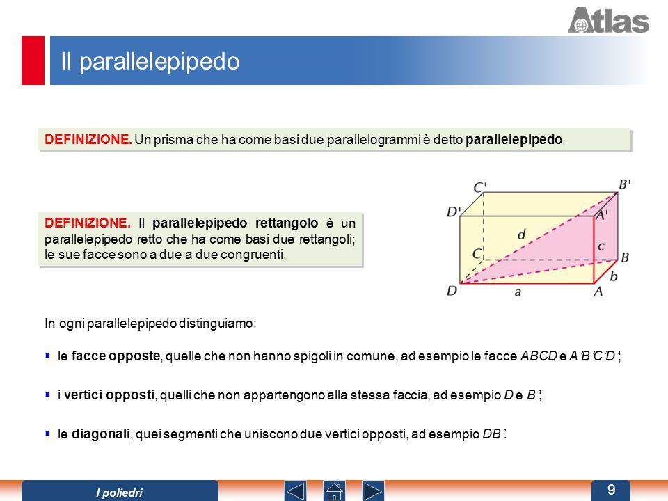 Il parallelepipedo DEFINIZIONE. Un prisma che ha come basi due parallelogrammi è detto parallelepipedo. DEFINIZIONE. Il parallelepipedo rettangolo è u