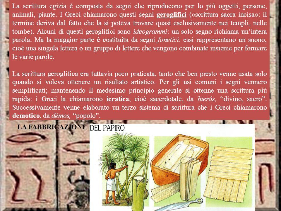 La scrittura La scrittura egizia è composta da segni che riproducono per lo più oggetti, persone, animali, piante.