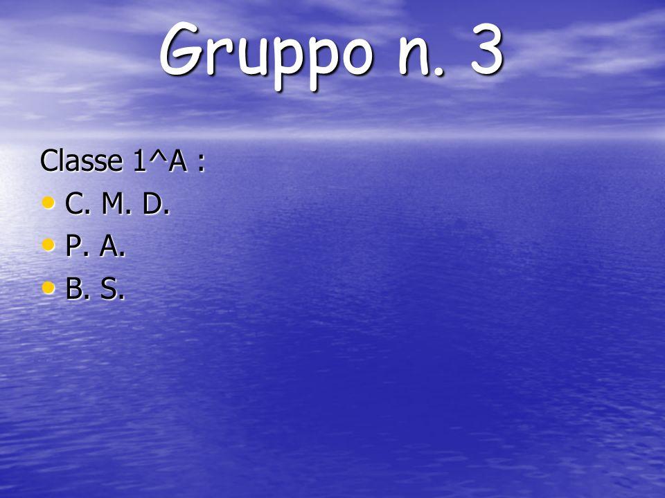 Gruppo n. 3 Classe 1^A : C. M. D. P. A. B. S.