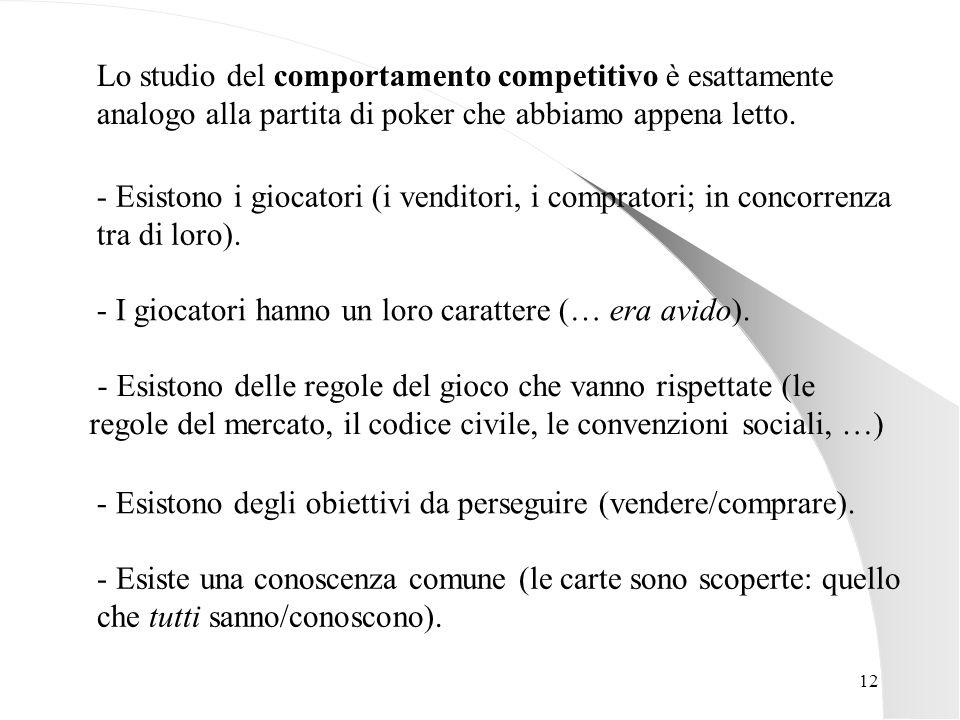 12 Lo studio del comportamento competitivo è esattamente analogo alla partita di poker che abbiamo appena letto. - Esistono delle regole del gioco che