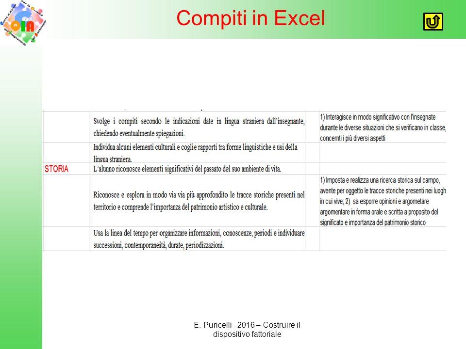 Compiti in Excel E. Puricelli - 2016 – Costruire il dispositivo fattoriale