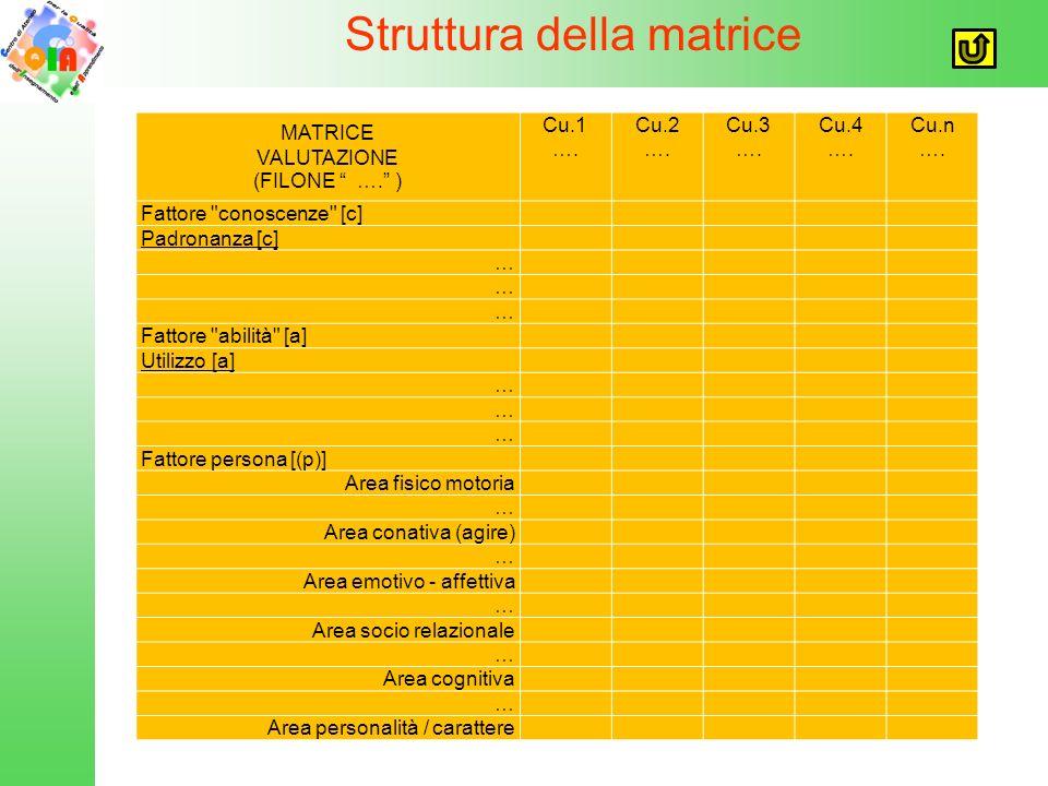 Struttura della matrice MATRICE VALUTAZIONE (FILONE …. ) Cu.1 ….