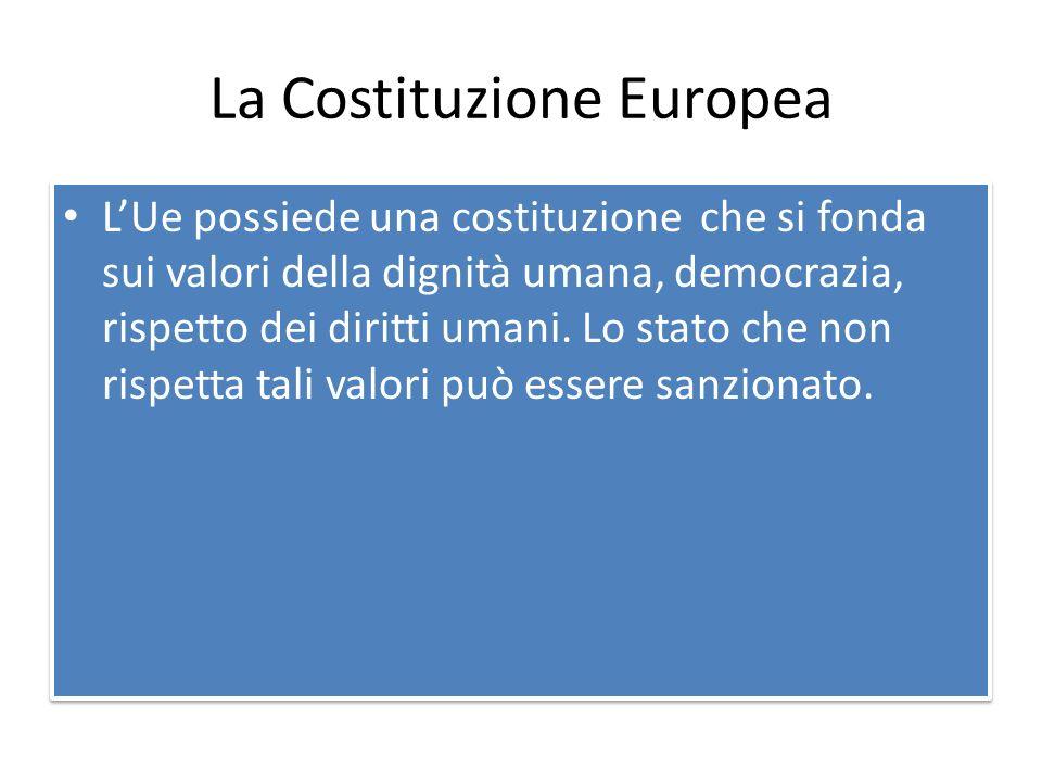 La Costituzione Europea L'Ue possiede una costituzione che si fonda sui valori della dignità umana, democrazia, rispetto dei diritti umani.