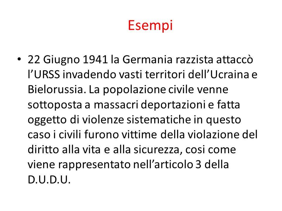 Esempi 22 Giugno 1941 la Germania razzista attaccò l'URSS invadendo vasti territori dell'Ucraina e Bielorussia.