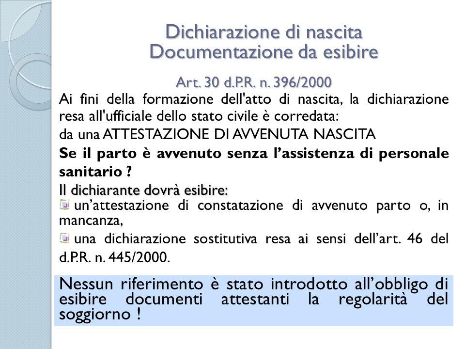 Regolarità del soggiorno e formazione degli atti di stato civile ...