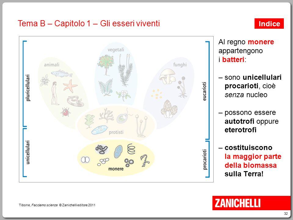32 Tibone, Facciamo scienze © Zanichelli editore 2011 Tema B – Capitolo 1 – Gli esseri viventi Al regno monere appartengono i batteri: – sono unicellu