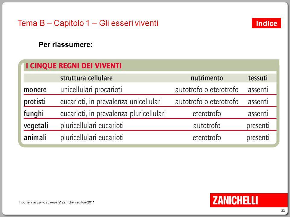 33 Tibone, Facciamo scienze © Zanichelli editore 2011 Tema B – Capitolo 1 – Gli esseri viventi Per riassumere: Indice