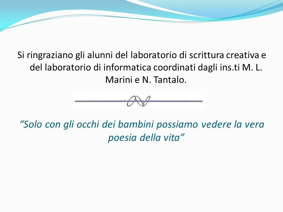 Si ringraziano gli alunni del laboratorio di scrittura creativa e del laboratorio di informatica coordinati dagli ins.ti M.