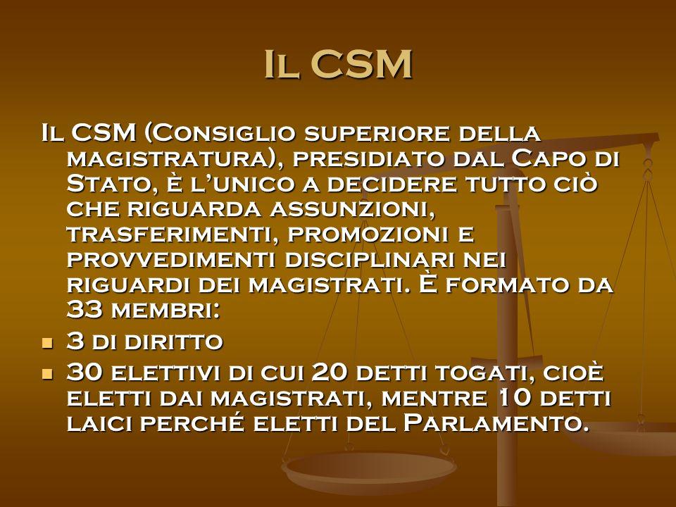 Il CSM Il CSM (Consiglio superiore della magistratura), presidiato dal Capo di Stato, è l'unico a decidere tutto ciò che riguarda assunzioni, trasferimenti, promozioni e provvedimenti disciplinari nei riguardi dei magistrati.