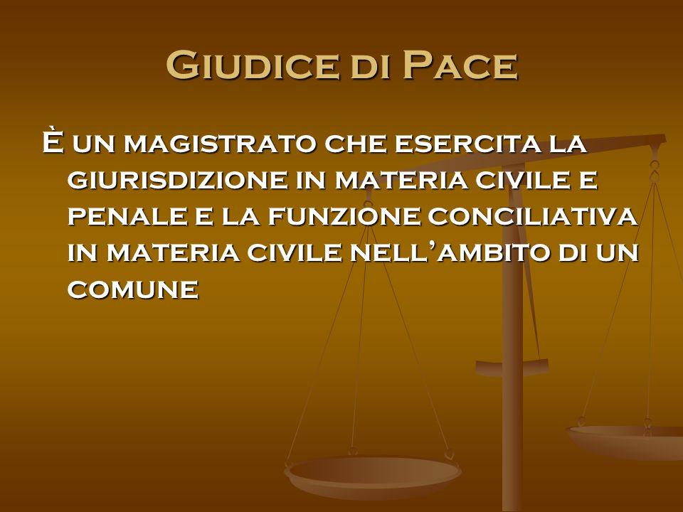 Giudice di Pace È un magistrato che esercita la giurisdizione in materia civile e penale e la funzione conciliativa in materia civile nell'ambito di un comune