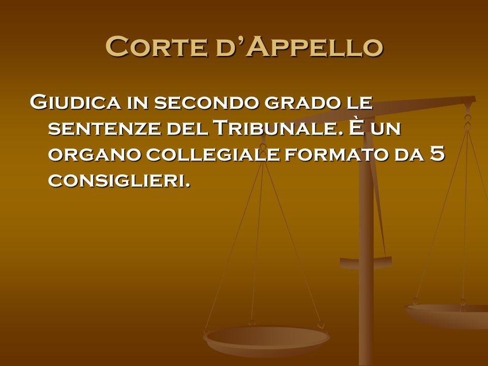 Corte d'Appello Giudica in secondo grado le sentenze del Tribunale.
