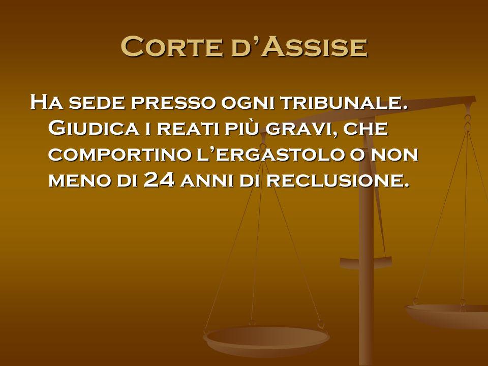 Corte d'Assise Ha sede presso ogni tribunale.