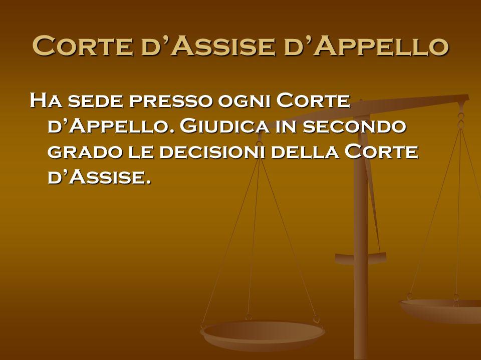Corte d'Assise d'Appello Ha sede presso ogni Corte d'Appello.