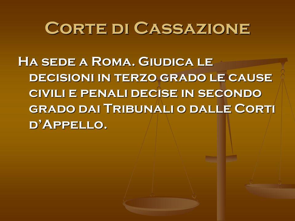 Corte di Cassazione Ha sede a Roma.