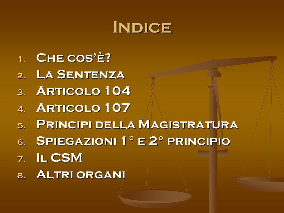 Indice 1. Che cos'è. 2. La Sentenza 3. Articolo 104 4.