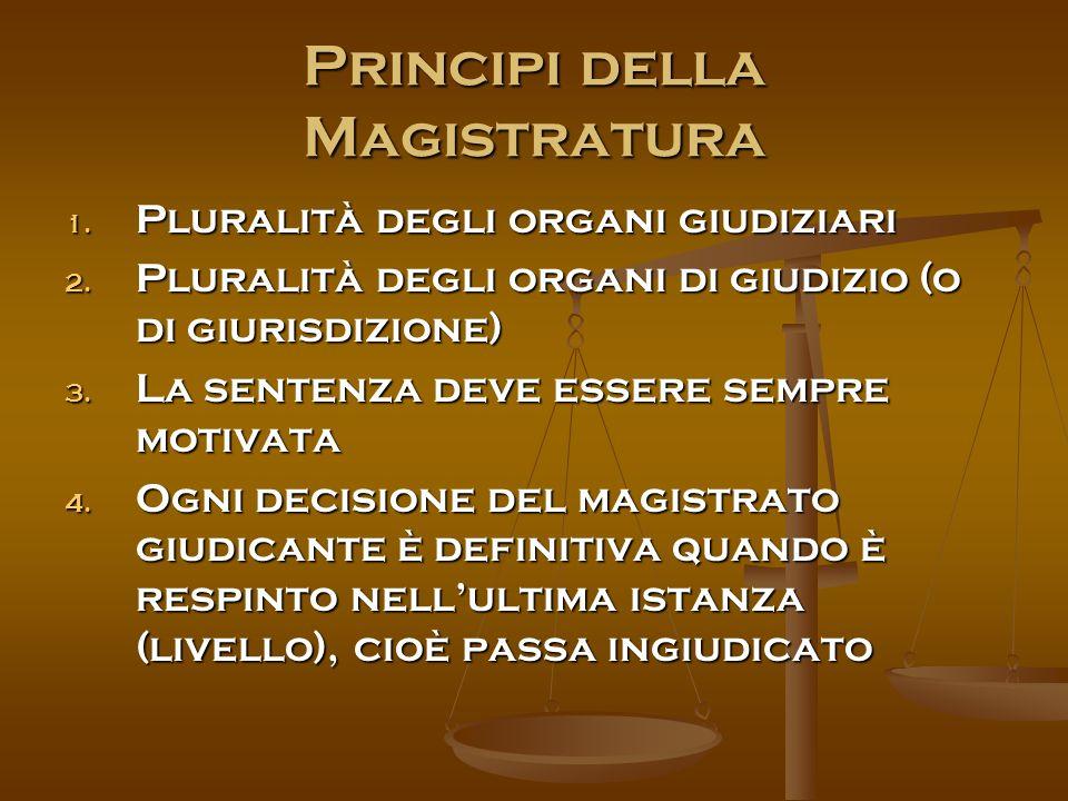 Principi della Magistratura 1. Pluralità degli organi giudiziari 2.