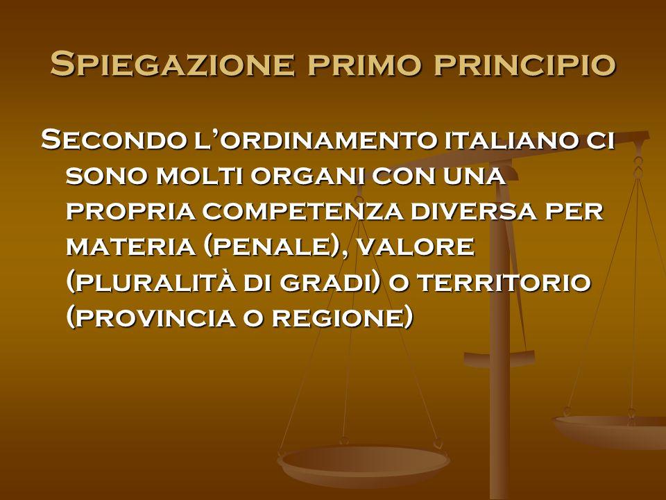 Spiegazione primo principio Secondo l'ordinamento italiano ci sono molti organi con una propria competenza diversa per materia (penale), valore (pluralità di gradi) o territorio (provincia o regione)