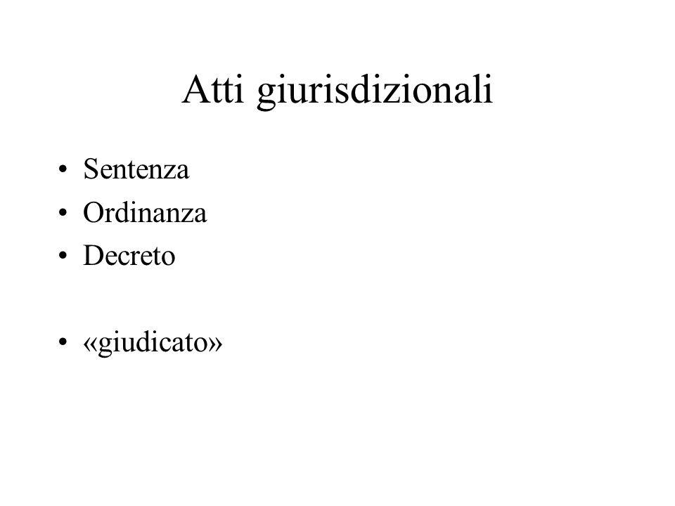 Atti giurisdizionali Sentenza Ordinanza Decreto «giudicato»