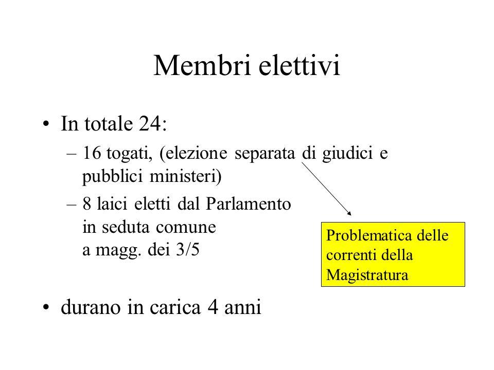 Membri elettivi In totale 24: –16 togati, (elezione separata di giudici e pubblici ministeri) –8 laici eletti dal Parlamento in seduta comune a magg.