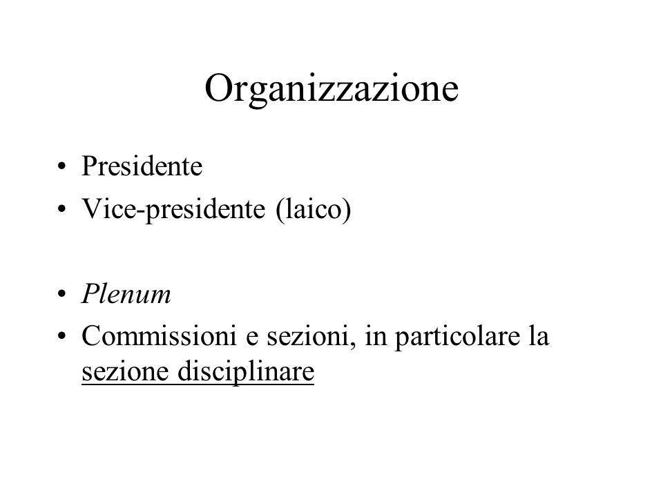 Organizzazione Presidente Vice-presidente (laico) Plenum Commissioni e sezioni, in particolare la sezione disciplinare