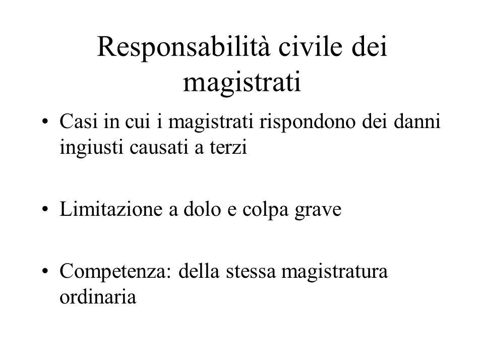 Responsabilità civile dei magistrati Casi in cui i magistrati rispondono dei danni ingiusti causati a terzi Limitazione a dolo e colpa grave Competenza: della stessa magistratura ordinaria