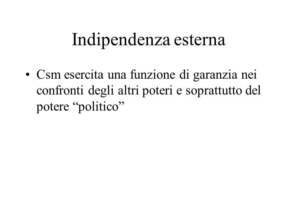 Indipendenza esterna Csm esercita una funzione di garanzia nei confronti degli altri poteri e soprattutto del potere politico