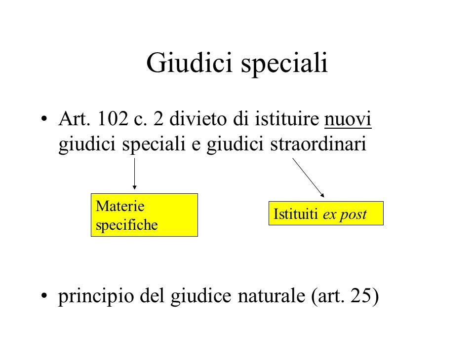 Giudici speciali Art. 102 c.