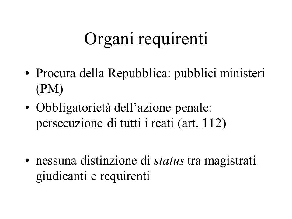 Organi requirenti Procura della Repubblica: pubblici ministeri (PM) Obbligatorietà dell'azione penale: persecuzione di tutti i reati (art.