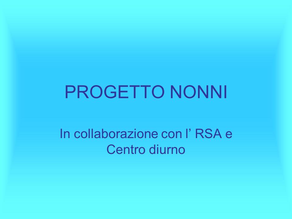 PROGETTO NONNI In collaborazione con l' RSA e Centro diurno