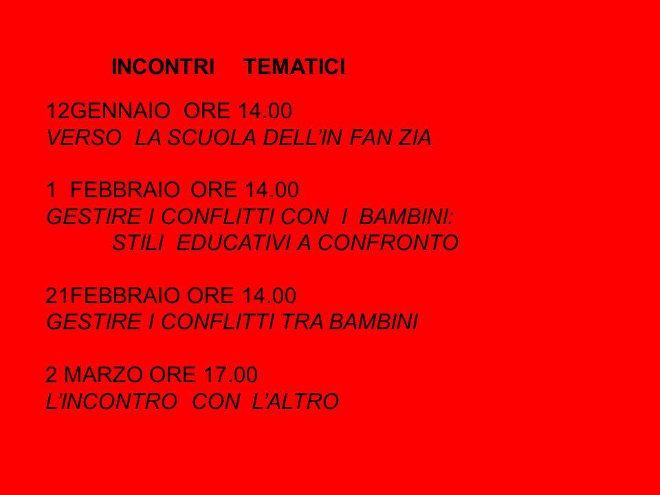 INCONTRI TEMATICI 12GENNAIO ORE 14.00 VERSO LA SCUOLA DELL'IN FAN ZIA 1FEBBRAIO ORE 14.00 GESTIRE I CONFLITTI CON I BAMBINI: STILI EDUCATIVI A CONFRONTO 21FEBBRAIO ORE 14.00 GESTIRE I CONFLITTI TRA BAMBINI 2 MARZO ORE 17.00 L'INCONTRO CON L'ALTRO