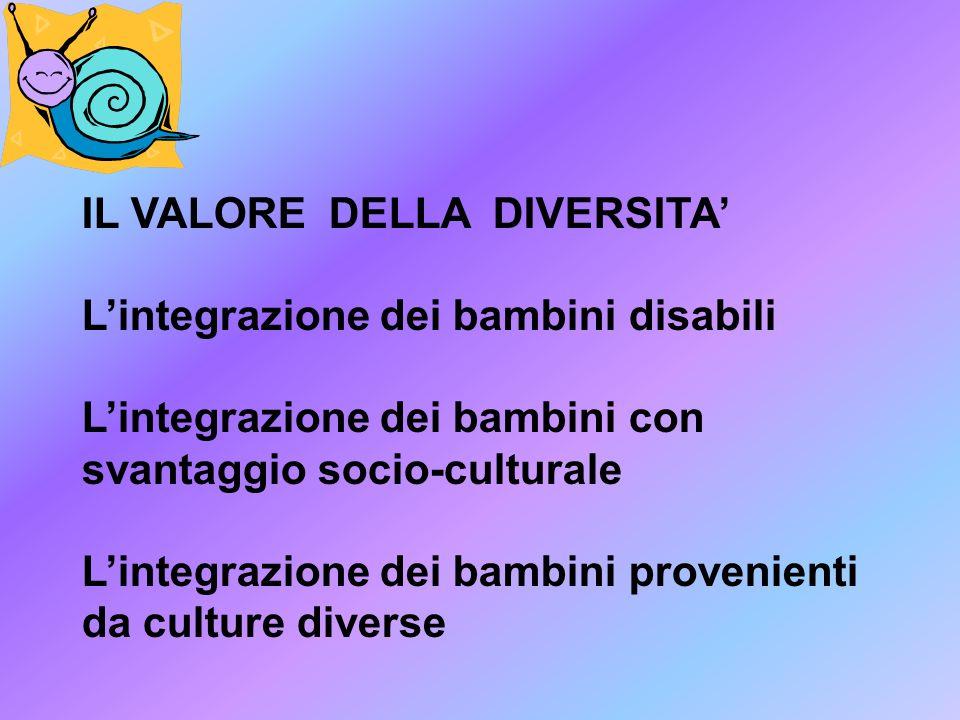 IL VALORE DELLA DIVERSITA' L'integrazione dei bambini disabili L'integrazione dei bambini con svantaggio socio-culturale L'integrazione dei bambini provenienti da culture diverse