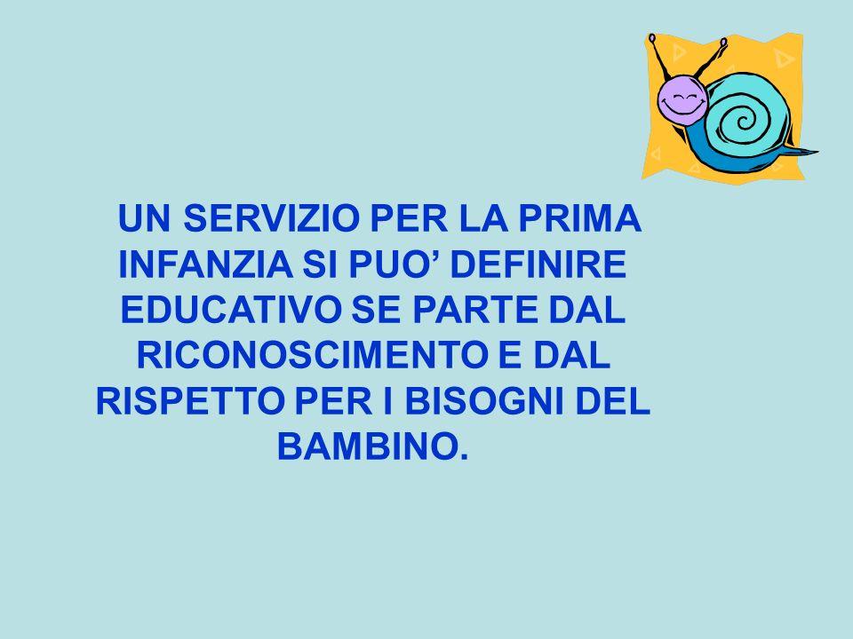 UN SERVIZIO PER LA PRIMA INFANZIA SI PUO' DEFINIRE EDUCATIVO SE PARTE DAL RICONOSCIMENTO E DAL RISPETTO PER I BISOGNI DEL BAMBINO.