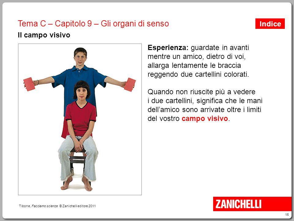 15 Tibone, Facciamo scienze © Zanichelli editore 2011 Tema C – Capitolo 9 – Gli organi di senso Il campo visivo Esperienza: guardate in avanti mentre